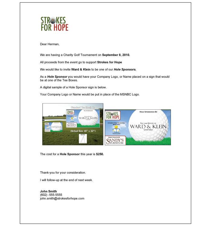Hole Sponsor Letter | Fairway Sponsors